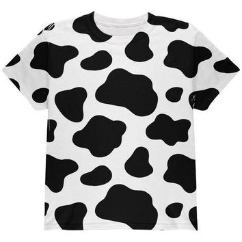 CREYCY8 Cow Pattern Halloween Costume All Over Youth T Shirt