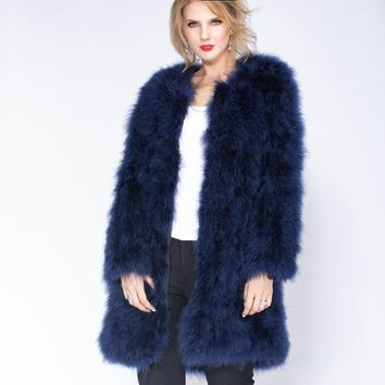 Ostrich Feather Oversized Coat