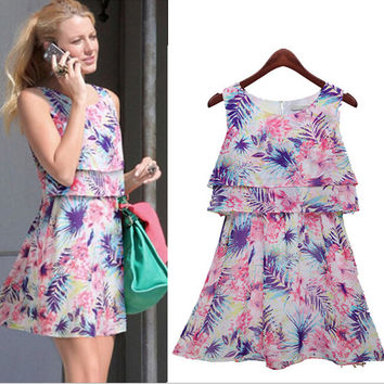 Cute Floral Print Layered Sleeveless Chiffon Dress
