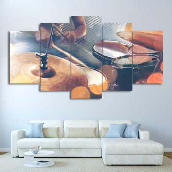 Vintage Drums Cymbals Abstract Print Wall Art Canvas Framed UNframed