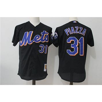 Men's New York Mets Mike Piazza Mitchell & Ness Black Cooperstown Collection Mesh Batting Practice Jersey