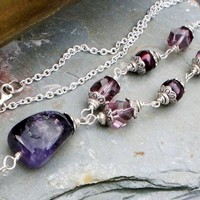 Amethyst and Freshwater Pearl, Fine Silver Necklace February birthstone