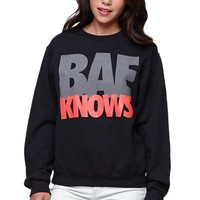 Reason Bae Knows Crew Fleece - Womens Hoodie - Black