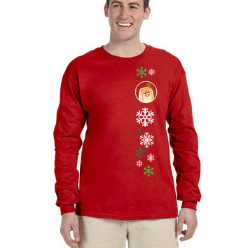 Pomeranian Red Snowflakes  Long Sleeve Red Unisex Tshirt Adult Small LH9350-LS-RED-S