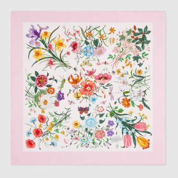 GUCCI Auth Scarf Flora Print Pink White Silk Ladies Free Shipping New #0941