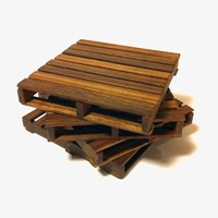 Supermarket: pallet coasters - reclaimed walnut - set of 4 from cantilever and press