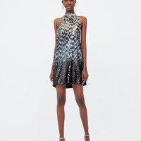 SEQUINNED HALTER NECK DRESS DETAILS