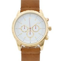 Tan Multi Dial Leather-Look Strap Watch