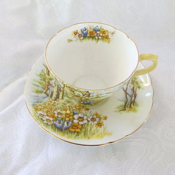 Shelley Daffodil Time Teacup and Saucer, Daffodil Time Cup and Saucer, Shelley China