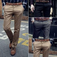 Fashion Mens Slim Office Dress Solid Fit Slacks Formal Trousers Pants