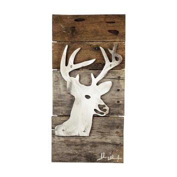 Stag Deer Head Wood & Metal Art Wall Decor