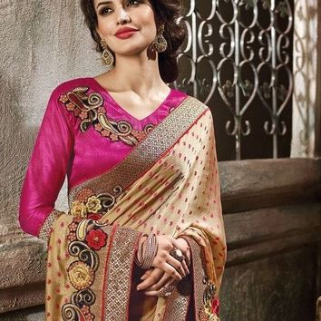 Ftrendy Pink, Light Yellow Embroidered Silk & Jacquard Saree