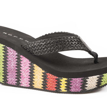 Roper Ladies Sandal Casual Shoe Raffia Wrapped Wedge Sandal