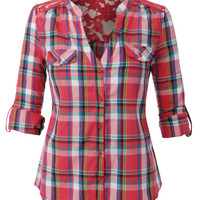 Womens Lightweight Vintage Plaid Button Down Shirt with Lace Detail