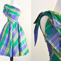 1950s Plaid Taffeta Party Dress One Shoulder Circle Skirt Union Made
