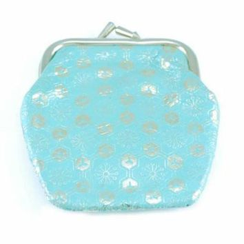 Pretty Vintage Turquoise & Gold Embossed Leather Change Purse 1950S