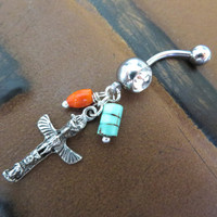 Totem Pole Belly Button Ring Jewelry Navel Piercing Turquoise Coral Charm Tribal Native American Bar Barbell