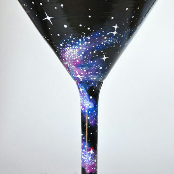 Hand Painted Cosmos Martini Glasses; outer space glass, galaxy glass, cocktail glass, 21st birthday gift, star glass, wedding gift