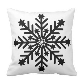Black & White Snowflake Holiday Pillow