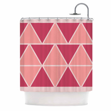 "NL designs ""Coral Peach Triangles"" Pink Patterns Shower Curtain"
