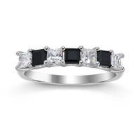 Genuine Black Onyx Princess Cut Stackable Band Ring