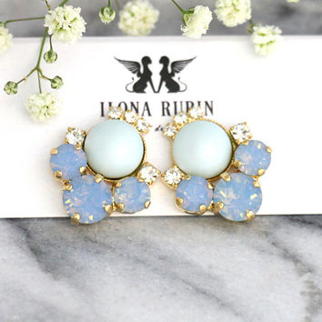 Blue Earrings, Blue Sky Earrings, Bridal Powder Blue Earrings, Blue Opal Earrings, Cornflower Stud Earrings, Bridesmaids Blue Earrings