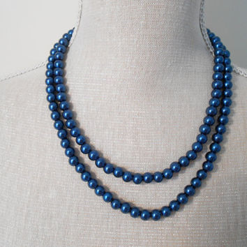 Pearl necklace: Navy blue glass pearls, unique for wedding, Bridesmaid Gifts, Mother of the Bride, Teacher, Bridal, For her, Mum jewelry