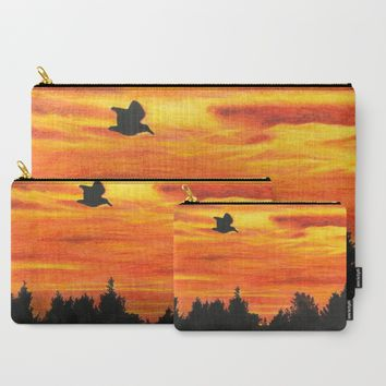 Sunset with bird Carry-All Pouch by Savousepate