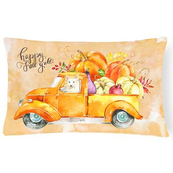 Fall Harvest White Collie Canvas Fabric Decorative Pillow CK2641PW1216
