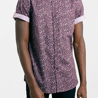 Men's Topman Slim Fit Short Sleeve Floral Print Shirt,