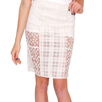 Daring Transparency Lace Skirt - Ivory
