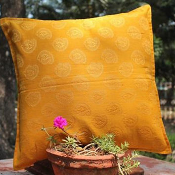 Decorative Yellow Throw Pillow cover Accent Sofa Pillows Size 16 x 16 in Indian Chanderi Cotton Fabric Pillow Cover Cushion Cover Home Décor