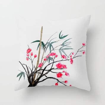 bamboo and red plum flowers  Throw Pillow by Colorful Nature