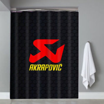 Top Famous Akrapovic Logo Shower Curtain Waterproof Limited Edition