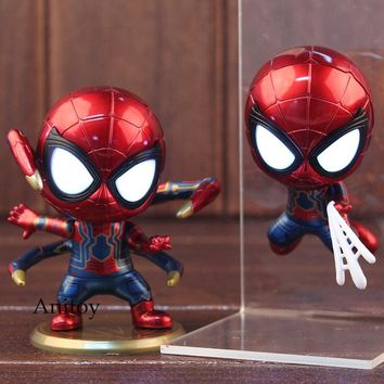 Marvel Avengers Infinity War Iron Spider Bobble Head with LED Light PVC Spiderman Hot Toys Collectible Model Boys Toys 9cm