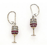 Wine Earrings - Red Wine with Diamonds and Rubies