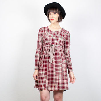 Vintage Soft Grunge Dress Plaid Mini Dress 1990s Dress Babydoll Dress 90s Dress Burgundy Cranberry Red Plaid Oxblood Tartan Dress S Small M