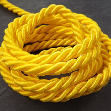Sunny Yellow 7mm Twisted Rayon Satin Rope Silk Braid Cord - 3 Ply Twist - 1 meters - 1.09 Yards