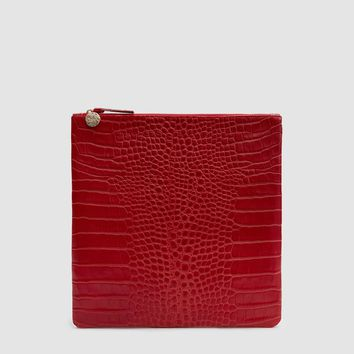 Clare V. / Foldover Clutch in Red Crocco