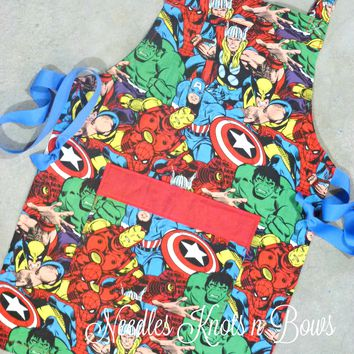 Kids Marvel Superhero Apron, Boys, Girls Apron, Kids Cooking Glass, Avengers Apron, Toddler Apron