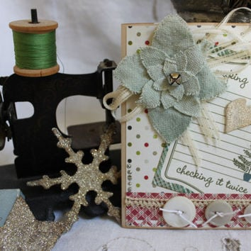 "Christmas Card, Handmade, Holiday Card,4.25x5.5"", Original, Vintage Lace,Vintage Buttons,Vintage Ribbon,Grunge Board,Crackle Paint"