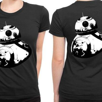 DCCKG72 Star Wars The Force Awakens Droid Bb Eight Black And White 2 Sided Womens T Shirt