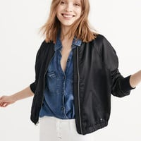 Womens Satin Bomber Jacket | Womens New Arrivals | Abercrombie.com