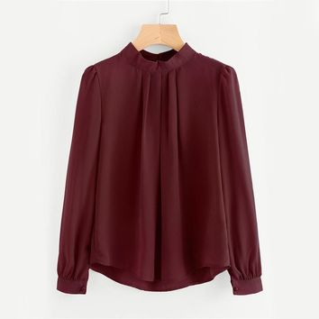 Pleated Detail Button Keyhole Back Chiffon Blouse Autumn Band Collar Button Top Equipment Long Sleeve Blouse