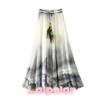 2018 Vintage Maxi Skirts Women Solid Boho Chiffon Saia Longa Summer Vestidos Tulle Casual Bohemian Long Skirts Woman Clothing