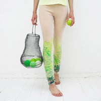Live green - beige organic cotton leggings with lime green print