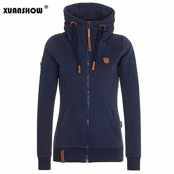 XUANSHOW Womens Fashion Fleeces Hoodies Ladies Sweatshirts Casual Tracksuits Solid Long Sleeve Zip Up Clothing Plus Size S-5XL