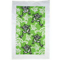 Frog Tea Towel in Green designed by Bill Helin, Tsimshian