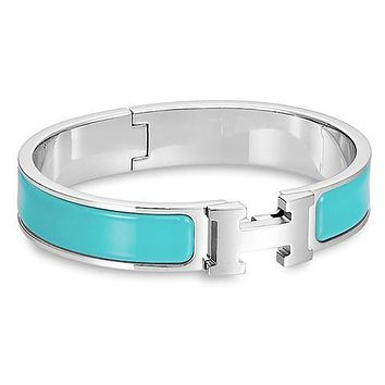 Hermes men and women tide enamel Palladium wide palladium bracelet F Light blue+Silver