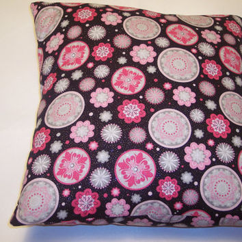 Decorative Pillow Cover, Throw pillow Cover Single ,16 x 16 Black, Light Pink, Hot Pink, Geometric Shapes, Flowers, Color Pop